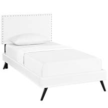 Phoebe Twin Vinyl Platform Bed with Round Splayed Legs