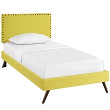 Phoebe Twin Fabric Platform Bed with Round Splayed Legs