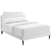 Laura Queen Vinyl Platform Bed with Round Tapered Legs