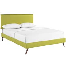 Camille King Fabric Platform Bed with Round Splayed Legs