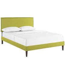 Camille King Fabric Platform Bed with Squared Tapered Legs