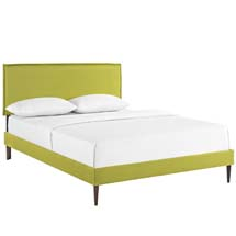 Camille King Fabric Platform Bed with Round Tapered Legs