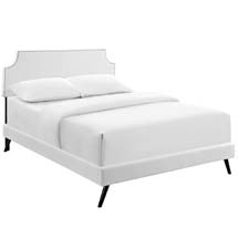 Laura Full Vinyl Platform Bed with Round Splayed Legs