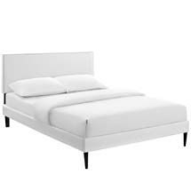 Phoebe Full Vinyl Platform Bed with Round Tapered Legs