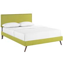 Phoebe King Fabric Platform Bed with Round Splayed Legs